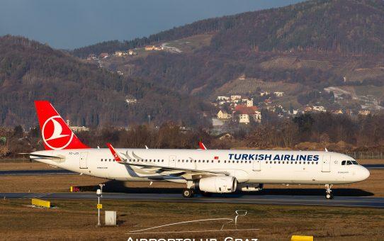 111.111ter Turkish Airlines Passagier startet vom Flughafen Graz