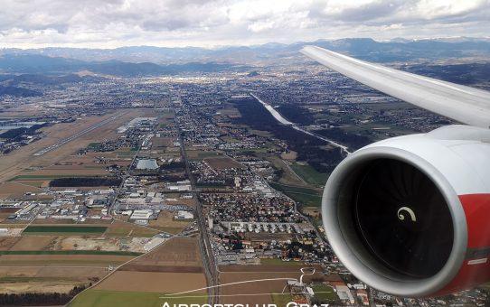 AUA Boeing 777 in Graz