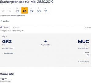 Screenshot © Lufthansa Webseite